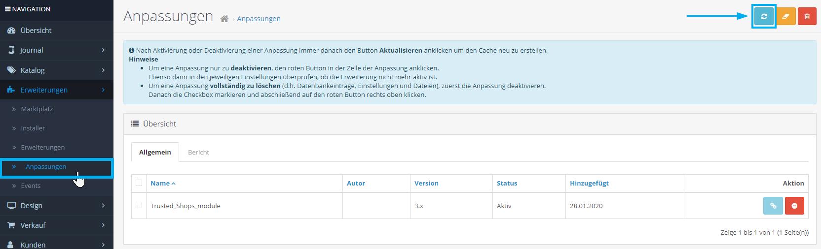 7_Opencart Cache aktualisieren