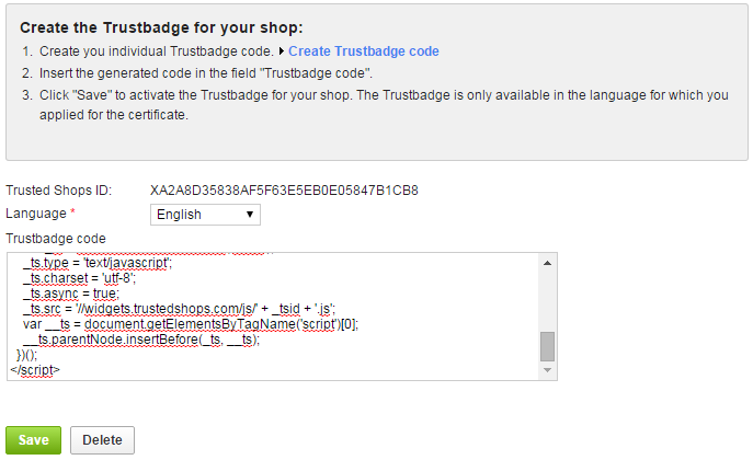 Trustbadge ePages Integration