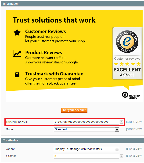 Magento Trustbadge code integration