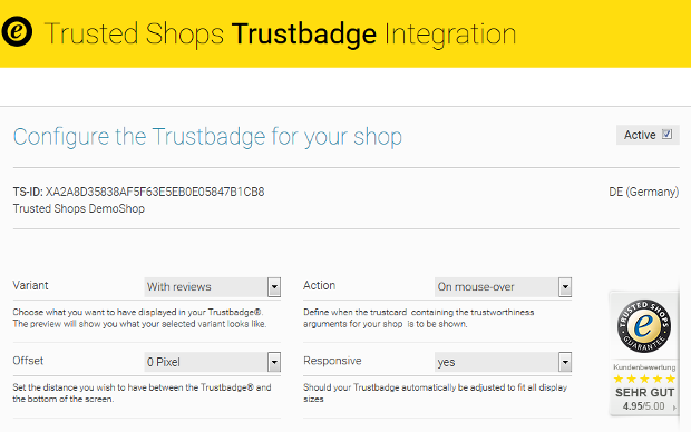 Integrate the Trustbadge in your SEOshop!