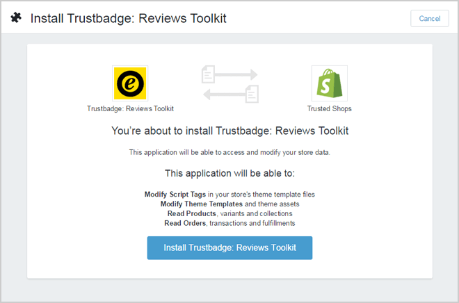 Install the Trustbadge Reviews Toolkit