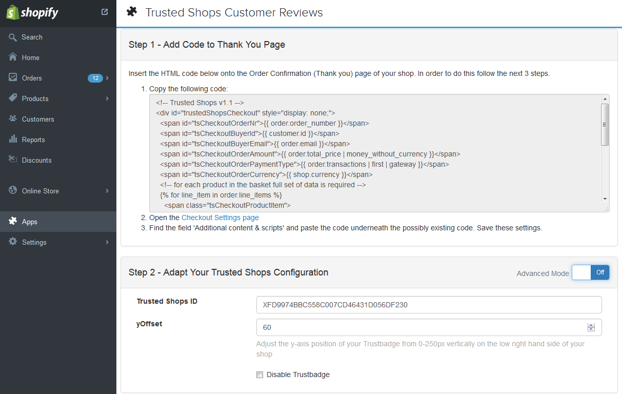 Shopify Trustbadge code integration