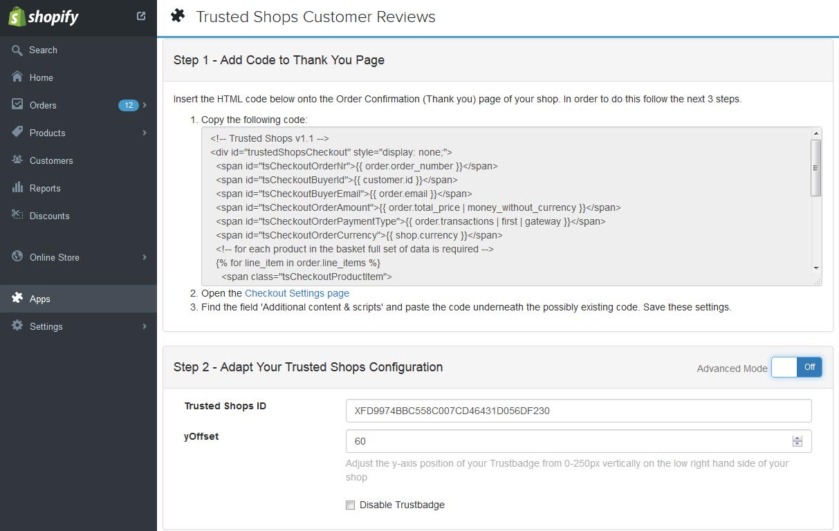 Shopify Trustbadge code integration