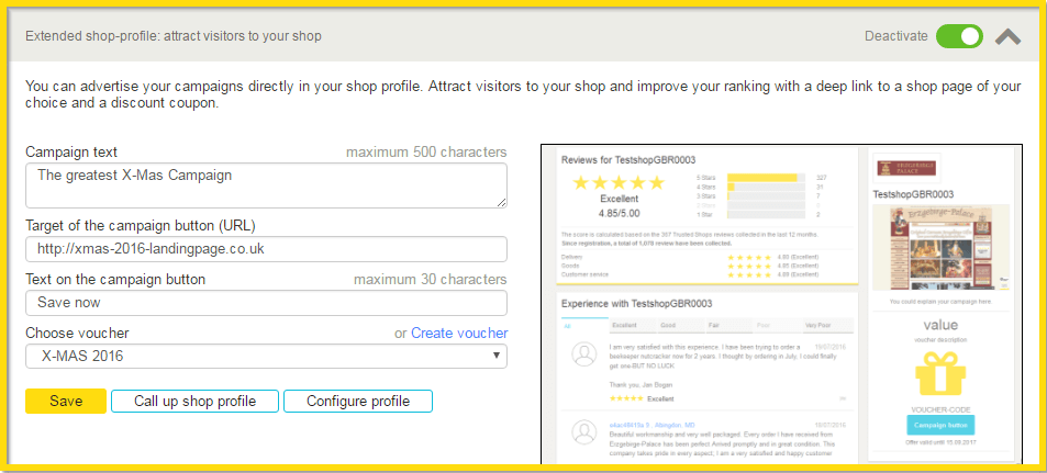 Extended shop profile: attract customers to your shop