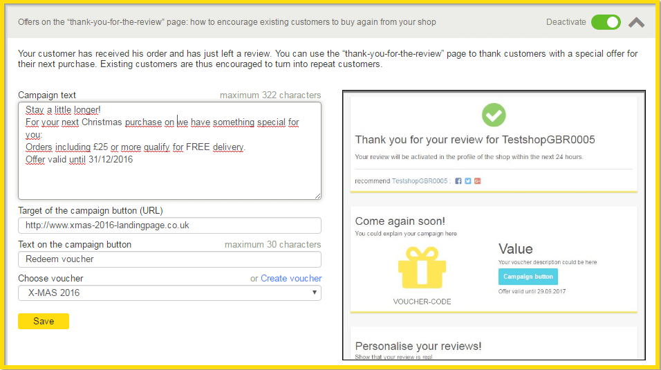 Offers on the thank-you-for-the-review page: transform occasional shoppers in regular customers